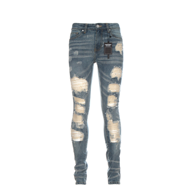Black Denim Destroyed Men's Heavily Distressed Blue Skinny Jeans