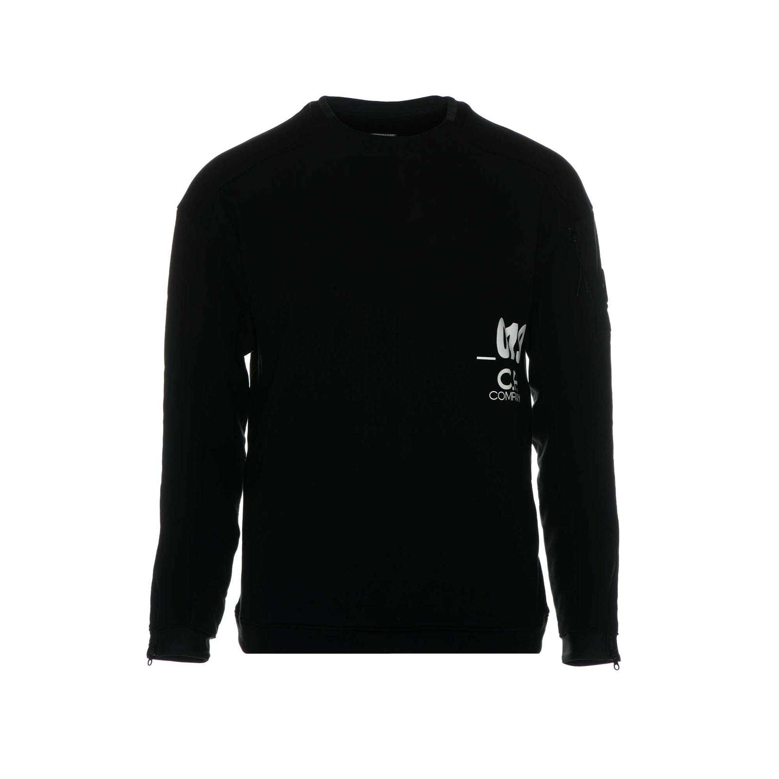 C.P. Company Diagonal Fleece Lens Crew Sweatshirt in Black