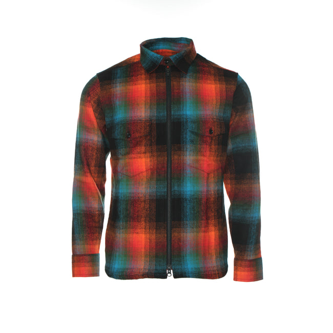 Raised by Wolves Double Plaid Flannel Men's Zip Shirt