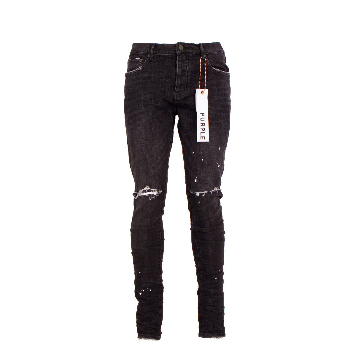 PURPLE Brand Men's Designer Jeans P001- Black Over Spray