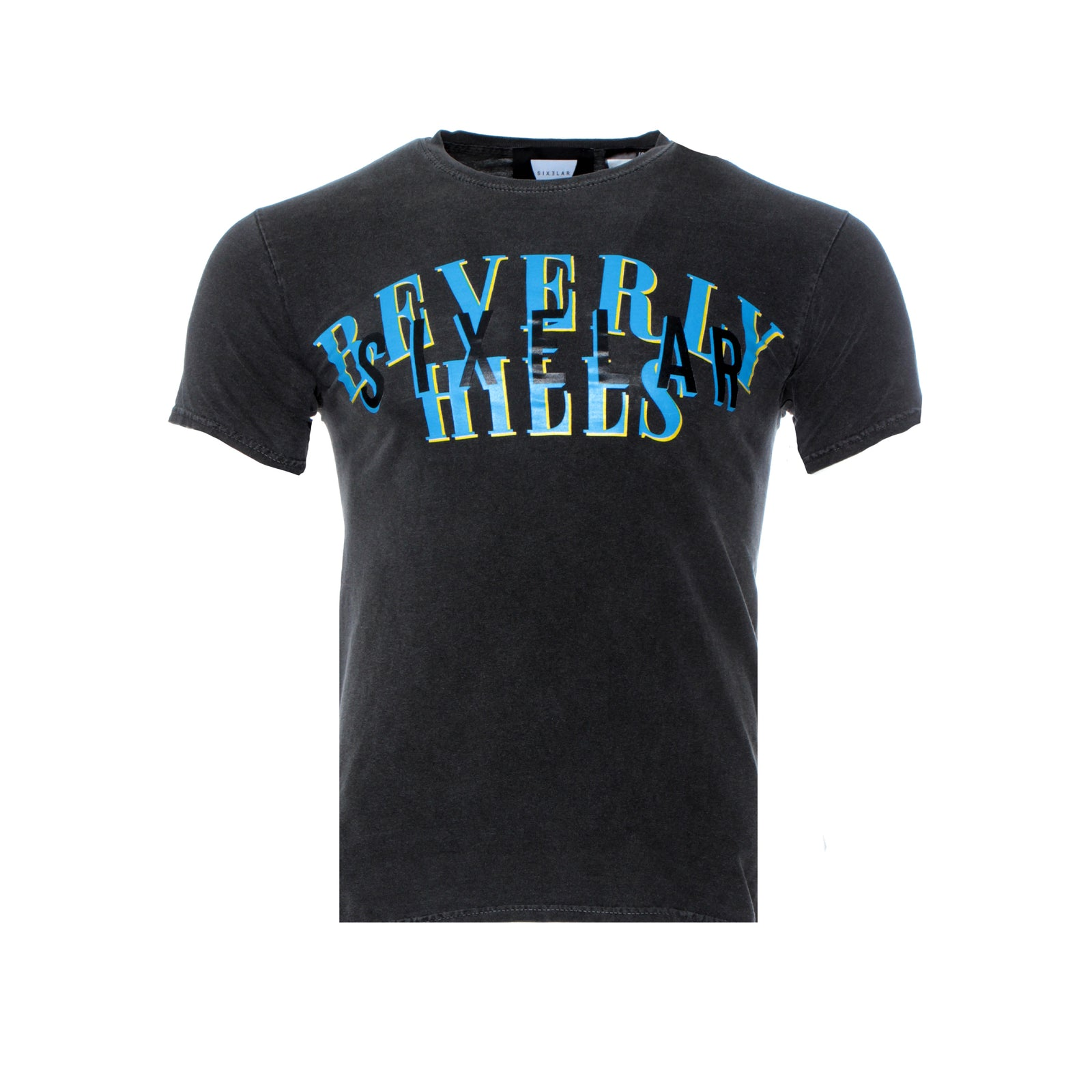 Sixelar Classic  Beverly Hills Men's Graphic Tee  Vintage Charcoal
