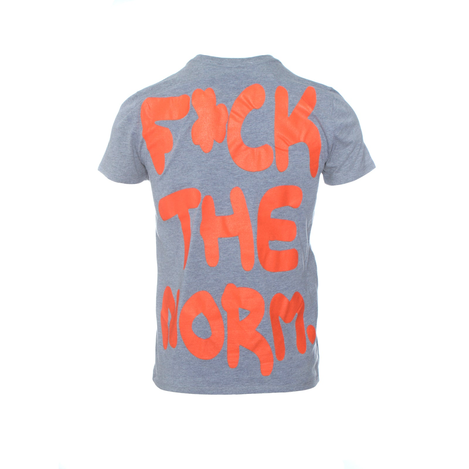 Fashion Geek F**k The Norm Men's SS T-Shirt Light Grey Neon Orange