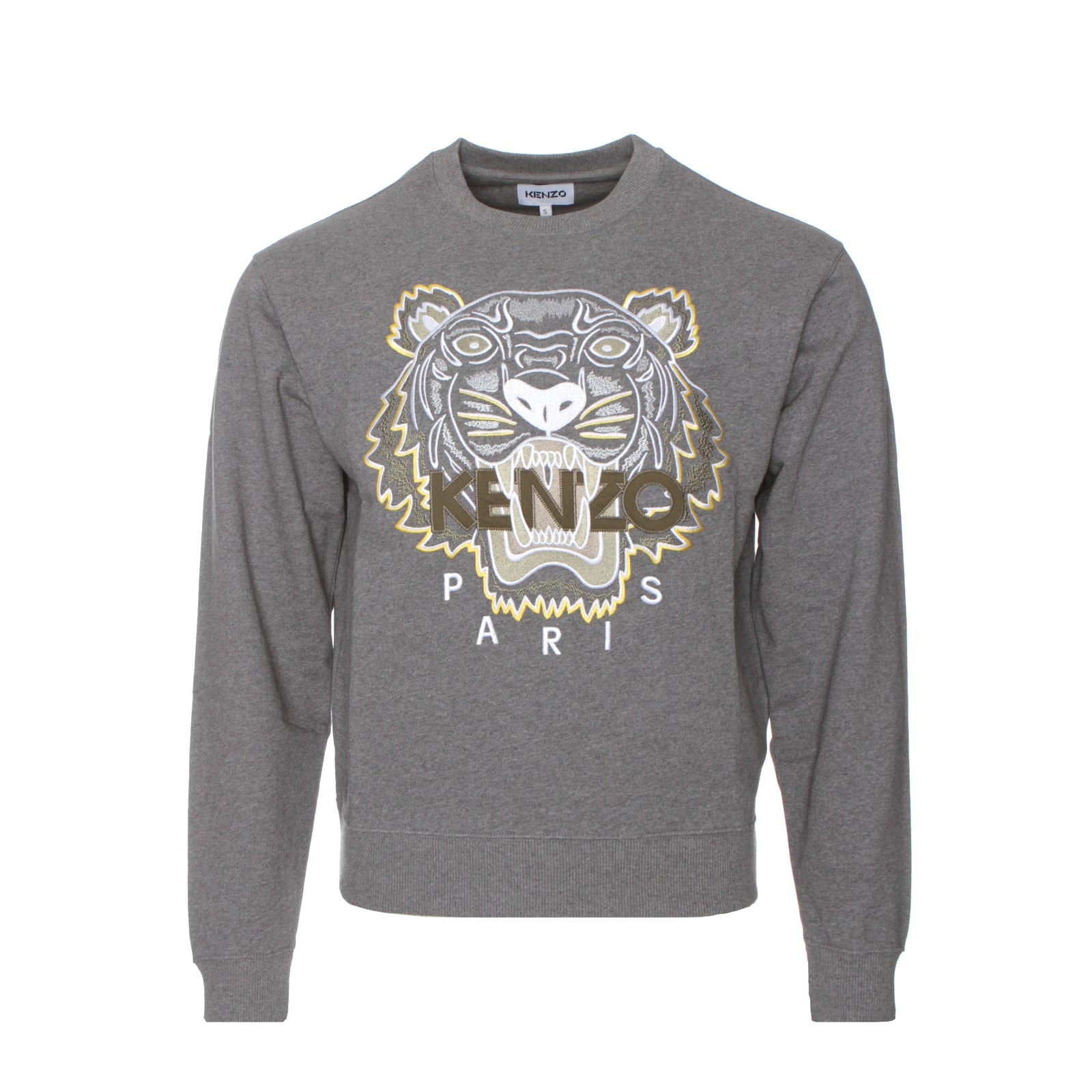 Kenzo Paris SS21 Tiger Classic Men's Pullover Sweatshirt Dove Grey