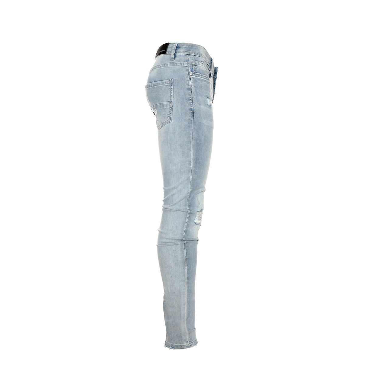 Black Denim Thrashed Men's Skinny Designer Jeans