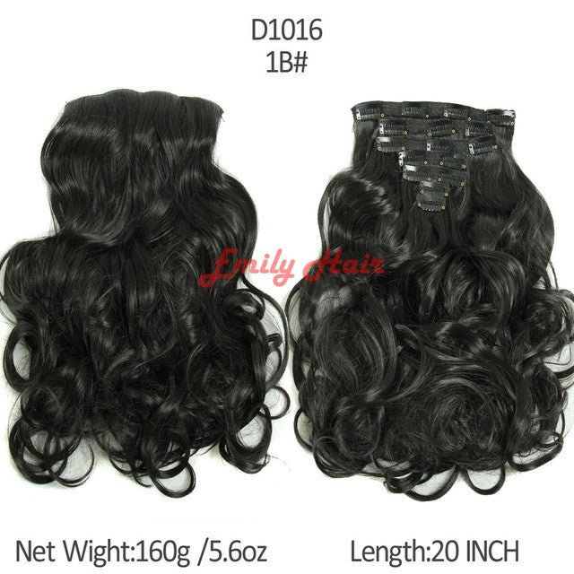 20 Hair Extension 7pcsset Hair Extension Wavy Curly Synthetic Clip