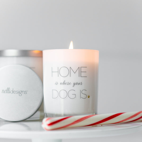 Home-is-where-your-dog-is-candle, NelliDesigns-Holiday-Gift-Candle, Frasier-Fir-Fragrance