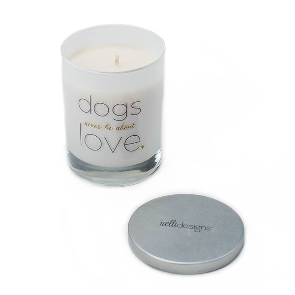 "Dog Lover Gift Candle ""Dogs Never Lie About Love"""