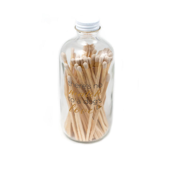 "Dog Lover Matchstick Bottle ""There Is No Match To A Dog's Love"""