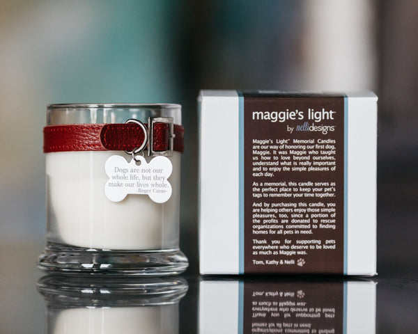 Maggie's Light ™ Dog Memorial Candle - Red (Rolling in Grass)