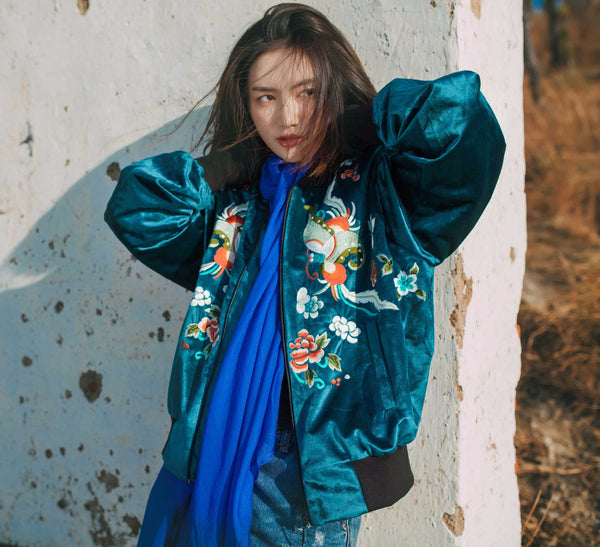 Verdigris Emboridered Bomber Jacket - Women's Cloth, SULUO - SULUO Clothing, SULUO - SULUO, Top - Women's Apparel, Top - cheongsam, Top - dress,  Top - skirt, Top - qipao, Top - chipao, Top - Chinese costume, Top - asian fashion, Top - Chinese culture, Top - embroidery, Top - embroidered, Verdigris Emboridered Bomber Jacket - embroidered, Verdigris Emboridered Bomber Jacket - bomber jacket