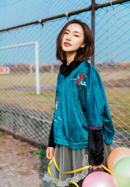 Verdigris Embroidered Sweater - Women's Cloth, SULUO - SULUO Clothing, SULUO - SULUO, Top - Women's Apparel, Top - cheongsam, Top - dress,  Top - skirt, Top - qipao, Top - chipao, Top - Chinese costume, Top - asian fashion, Top - Chinese culture, Top - embroidery, Top - embroidered, Verdigris Embroidered Sweater - embroidered, Verdigris Embroidered Sweater - bomber jacket, Top - Chinese dress