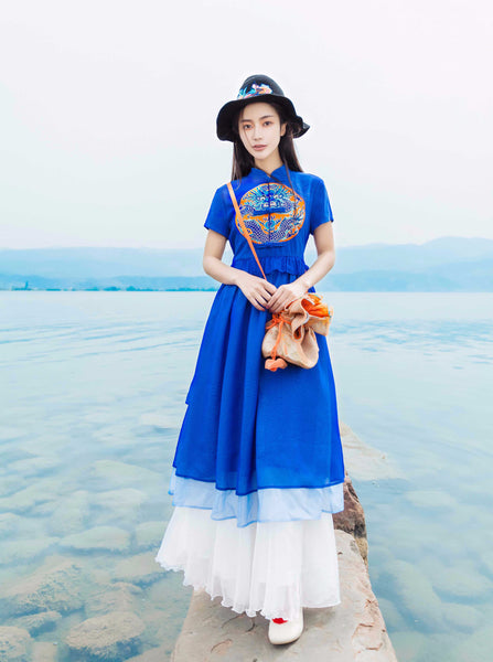 Blue Embroidered Dress - Women's Cloth, SULUO - SULUO Clothing, SULUO - SULUO, Dress - Women's Apparel, Dress - cheongsam, Dress - dress,  Dress - skirt, Dress - qipao, Dress - chipao, Dress - Chinese costume, Dress - asian fashion, Dress - Chinese culture, Dress - embroidery, Dress - embroidered, Blue Embroidered Dress - embroidered, Blue Embroidered Dress - bomber jacket