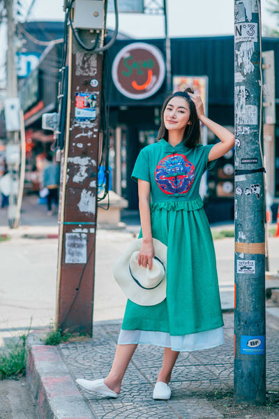 Emerald Embroidered Dress - Women's Cloth, SULUO - SULUO Clothing, SULUO - SULUO, Dress - Women's Apparel, Dress - cheongsam, Dress - dress,  Dress - skirt, Dress - qipao, Dress - chipao, Dress - Chinese costume, Dress - asian fashion, Dress - Chinese culture, Dress - embroidery, Dress - embroidered, Emerald Embroidered Dress - embroidered, Emerald Embroidered Dress - bomber jacket