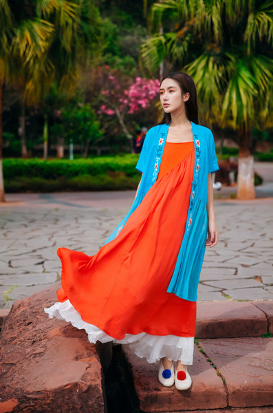Light Blue Open-front Cardigan - Women's Cloth, SULUO - SULUO Clothing, SULUO - SULUO, Top - Women's Apparel, Top - cheongsam, Top - dress,  Top - skirt, Top - qipao, Top - chipao, Top - Chinese costume, Top - asian fashion, Top - Chinese culture, Top - embroidery, Top - embroidered, Light Blue Open-front Cardigan - embroidered, Light Blue Open-front Cardigan - bomber jacket