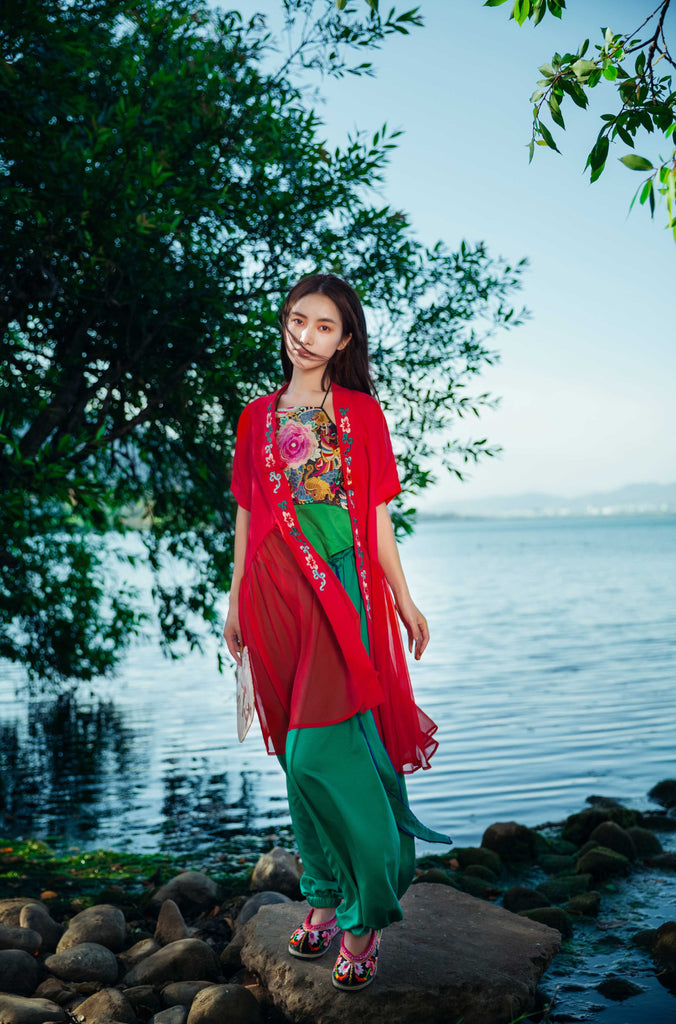Red Open-front Cardigan - Women's Cloth, SULUO - SULUO Clothing, SULUO - SULUO, Top - Women's Apparel, Top - cheongsam, Top - dress,  Top - skirt, Top - qipao, Top - chipao, Top - Chinese costume, Top - asian fashion, Top - Chinese culture, Top - embroidery, Top - embroidered, Red Open-front Cardigan - embroidered, Red Open-front Cardigan - bomber jacket