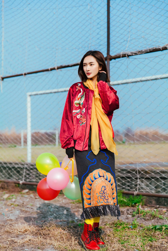 Rouge Emboridered Bomber Jacket - Women's Cloth, SULUO - SULUO Clothing, SULUO - SULUO, Top - Women's Apparel, Top - cheongsam, Top - dress,  Top - skirt, Top - qipao, Top - chipao, Top - Chinese costume, Top - asian fashion, Top - Chinese culture, Top - embroidery, Top - embroidered, Rouge Emboridered Bomber Jacket - embroidered, Rouge Emboridered Bomber Jacket - bomber jacket, Top - Chinese dress
