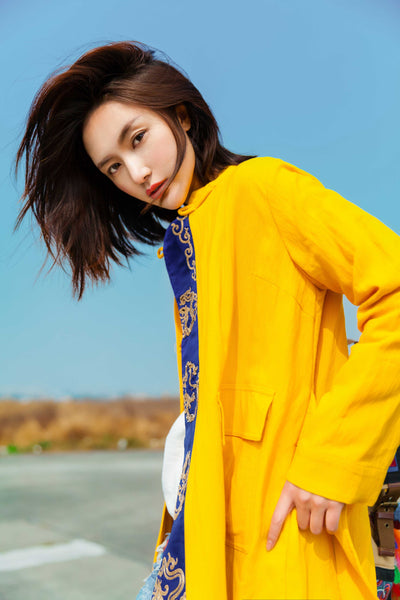 Yellow Dragon Embroidered Coat - Women's Cloth, SULUO - SULUO Clothing, SULUO - SULUO, Top - Women's Apparel, Top - cheongsam, Top - dress,  Top - skirt, Top - qipao, Top - chipao, Top - Chinese costume, Top - asian fashion, Top - Chinese culture, Top - embroidery, Top - embroidered, Yellow Dragon Embroidered Coat - embroidered, Yellow Dragon Embroidered Coat - bomber jacket