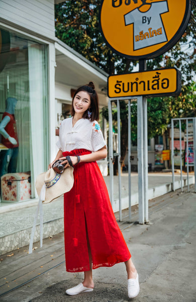 Red Embroidered Split Skirt - Women's Cloth, SULUO - SULUO Clothing, SULUO - SULUO, Dress - Women's Apparel, Dress - cheongsam, Dress - dress,  Dress - skirt, Dress - qipao, Dress - chipao, Dress - Chinese costume, Dress - asian fashion, Dress - Chinese culture, Dress - embroidery, Dress - embroidered, Red Embroidered Split Skirt - embroidered, Red Embroidered Split Skirt - bomber jacket