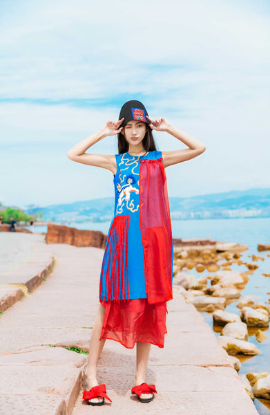 Sleeveless Tassel Dress - Women's Cloth, SULUO - SULUO Clothing, SULUO - SULUO, Dress - Women's Apparel, Dress - cheongsam, Dress - dress,  Dress - skirt, Dress - qipao, Dress - chipao, Dress - Chinese costume, Dress - asian fashion, Dress - Chinese culture, Dress - embroidery, Dress - embroidered, Sleeveless Tassel Dress - embroidered, Sleeveless Tassel Dress - bomber jacket
