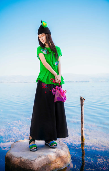 Black Oversized Trousers with Embroidery - Women's Cloth, SULUO - SULUO Clothing, SULUO - SULUO, Trousers - Women's Apparel, Trousers - cheongsam, Trousers - dress,  Trousers - skirt, Trousers - qipao, Trousers - chipao, Trousers - Chinese costume, Trousers - asian fashion, Trousers - Chinese culture, Trousers - embroidery, Trousers - embroidered, Black Oversized Trousers with Embroidery - embroidered, Black Oversized Trousers with Embroidery - bomber jacket