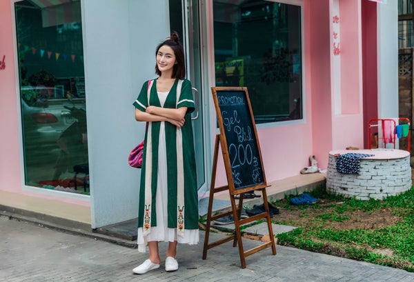 Emerald Cardigan Ribbon Dress - Women's Cloth, SULUO - SULUO Clothing, SULUO - SULUO, Dress - Women's Apparel, Dress - cheongsam, Dress - dress,  Dress - skirt, Dress - qipao, Dress - chipao, Dress - Chinese costume, Dress - asian fashion, Dress - Chinese culture, Dress - embroidery, Dress - embroidered, Emerald Cardigan Ribbon Dress - embroidered, Emerald Cardigan Ribbon Dress - bomber jacket