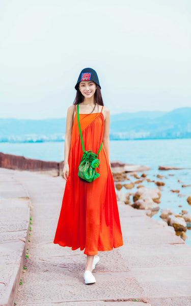 The Orange Dress - Women's Cloth, SULUO - SULUO Clothing, SULUO - SULUO, Dress - Women's Apparel, Dress - cheongsam, Dress - dress,  Dress - skirt, Dress - qipao, Dress - chipao, Dress - Chinese costume, Dress - asian fashion, Dress - Chinese culture, Dress - embroidery, Dress - embroidered, The Orange Dress - embroidered, The Orange Dress - bomber jacket
