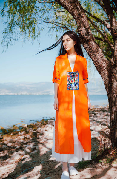 Short Sleeve Orange Embroidered Long Cardigan - Women's Cloth, SULUO - SULUO Clothing, SULUO - SULUO, Top - Women's Apparel, Top - cheongsam, Top - dress,  Top - skirt, Top - qipao, Top - chipao, Top - Chinese costume, Top - asian fashion, Top - Chinese culture, Top - embroidery, Top - embroidered, Short Sleeve Orange Embroidered Long Cardigan - embroidered, Short Sleeve Orange Embroidered Long Cardigan - bomber jacket