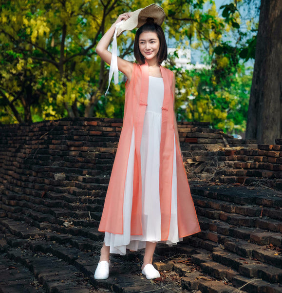 Dogwood Pink Sleeveless Long Cardigan - Women's Cloth, SULUO - SULUO Clothing, SULUO - SULUO, Top - Women's Apparel, Top - cheongsam, Top - dress,  Top - skirt, Top - qipao, Top - chipao, Top - Chinese costume, Top - asian fashion, Top - Chinese culture, Top - embroidery, Top - embroidered, Dogwood Pink Sleeveless Long Cardigan - embroidered, Dogwood Pink Sleeveless Long Cardigan - bomber jacket