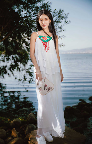 White Embroidered Strap Vest - Women's Cloth, SULUO - SULUO Clothing, SULUO - SULUO, Top - Women's Apparel, Top - cheongsam, Top - dress,  Top - skirt, Top - qipao, Top - chipao, Top - Chinese costume, Top - asian fashion, Top - Chinese culture, Top - embroidery, Top - embroidered, White Embroidered Strap Vest - embroidered, White Embroidered Strap Vest - bomber jacket