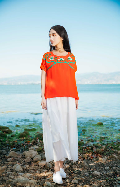 Orange Embroidered Ribbon T Shirt - Women's Cloth, SULUO - SULUO Clothing, SULUO - SULUO, Top - Women's Apparel, Top - cheongsam, Top - dress,  Top - skirt, Top - qipao, Top - chipao, Top - Chinese costume, Top - asian fashion, Top - Chinese culture, Top - embroidery, Top - embroidered, Orange Embroidered Ribbon T Shirt - embroidered, Orange Embroidered Ribbon T Shirt - bomber jacket