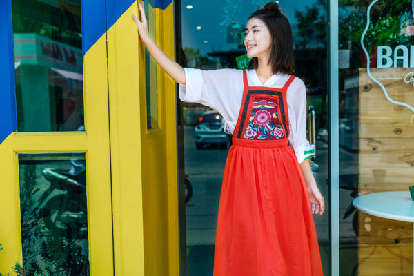 Red Embroidered Strap Dress - Women's Cloth, SULUO - SULUO Clothing, SULUO - SULUO, Dress - Women's Apparel, Dress - cheongsam, Dress - dress,  Dress - skirt, Dress - qipao, Dress - chipao, Dress - Chinese costume, Dress - asian fashion, Dress - Chinese culture, Dress - embroidery, Dress - embroidered, Red Embroidered Strap Dress - embroidered, Red Embroidered Strap Dress - bomber jacket
