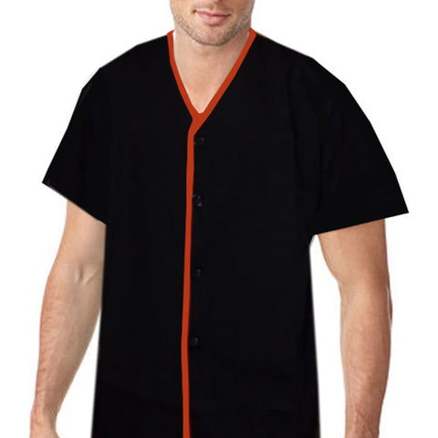 V-Neck Chef Shirt Orange contrast piping on black - Fashion Designz Uniforms