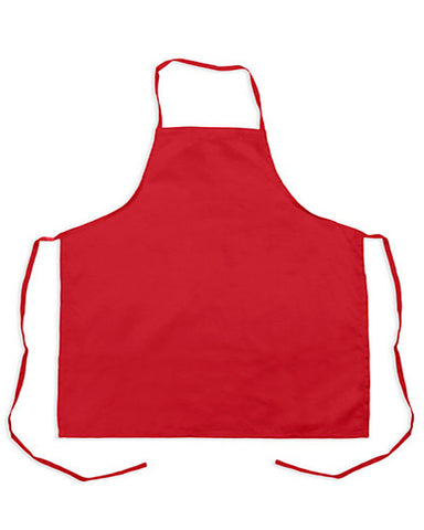 "Classic kitchen bib apron with no pocket Red Color 24"" - Fashion Designz Uniforms"