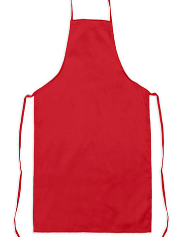 Classic kitchen bib apron with no pocket Red Color - Fashion Designz Uniforms