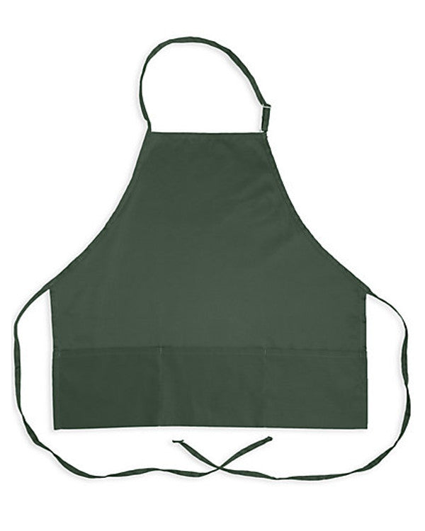 Three Pocket Bib Apron Hunter Green - Fashion Designz Uniforms