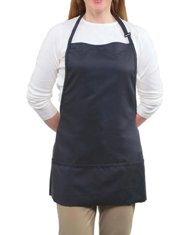 Three Pocket Bib Apron Navy Color - Fashion Designz Uniforms