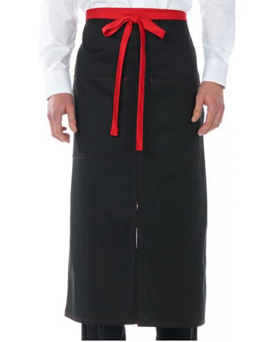 High Quality Color Blocked Split Full Length Bistro Apron Black and Red - Fashion Designz Uniforms