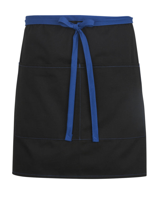High Quality Color Blocked Half Length Bistro Apron Black and Blue
