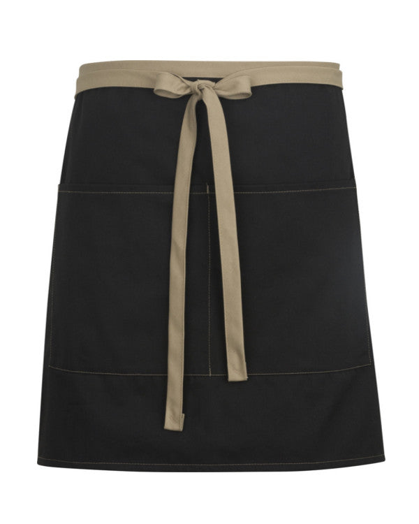 High Quality Color Blocked Half Length Bistro Apron Black and Khaki - Fashion Designz Uniforms