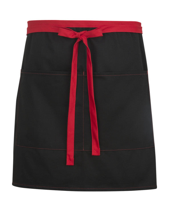 High Quality Color Blocked Half Length Bistro Apron Black and Red