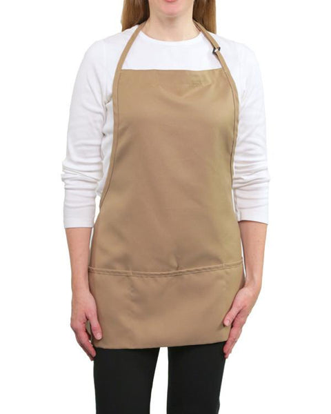 Three Pocket Bib Apron Khaki Color - Fashion Designz Uniforms