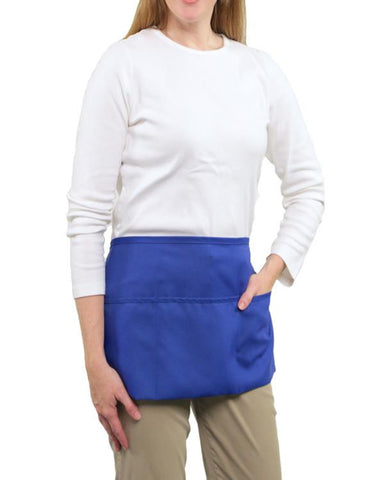 Front of the House 3 Pockets Waist Apron Royal Blue - Fashion Designz Uniforms