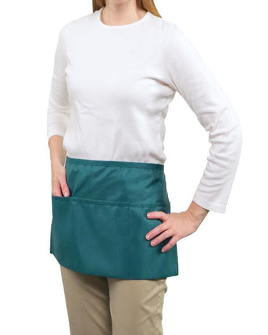 Front of the House 3 Pockets Waist Apron Teal Color - Fashion Designz Uniforms