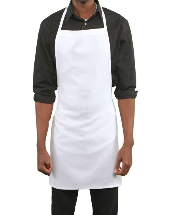 Bib Apron with No Pocket White Color - Fashion Designz Uniforms