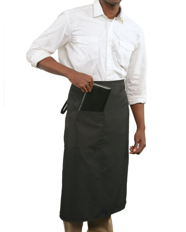 Full length one pocket Bistro Apron Black Color