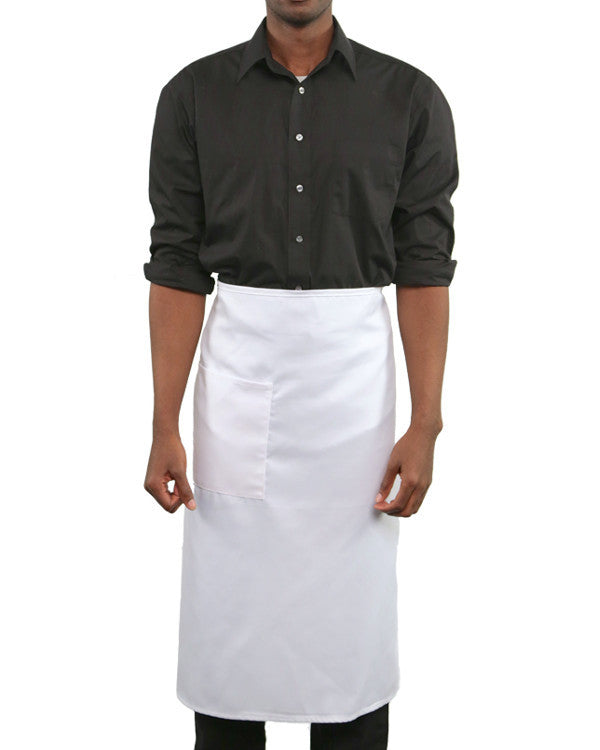 Full length one pocket Bistro Apron White Color - Fashion Designz Uniforms