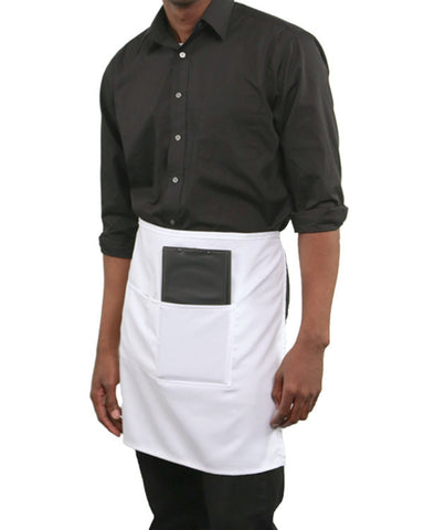 Half Bistro Two Pockets Apron White Color - Fashion Designz Uniforms