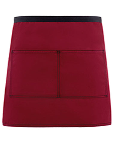 High Quality Half Bistro Apron with two pockets Burgundy and Black Color