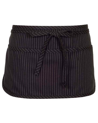 Three Pocket Round Bottom Reversible Waist Apron Black Pinstripe - Fashion Designz Uniforms