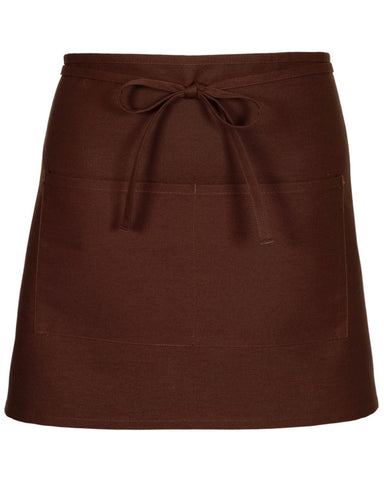 Half Bistro Apron with two pockets Brown Color